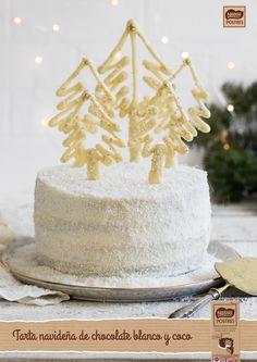 Tarta navideña de chocolate blanco y coco