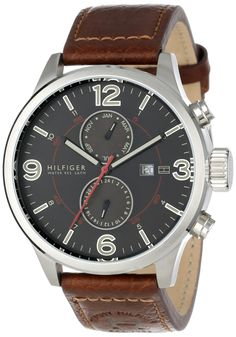 Tommy Hilfiger Men's 1790892 Casual Sport Brown Leather Multi-Eye Watch