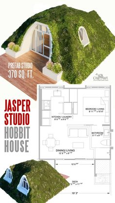 """Tiny House for Hobbits """"Jasper"""". See amazing line of prefabricated Hobbit-style homes that are low maintenance and energy efficient. House styles 14 Cutest Custom and Prefab Hobbit Houses for Tiny Living """"Fairy Tale-Style"""" - Craft-Mart Tiny House Cabin, Tiny House Living, Tiny House On Wheels, Tiny House Design, Small House Plans, House Floor Plans, Tiny House 2 Bedroom, Maison Earthship, Casa Dos Hobbits"""
