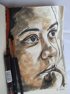"""Pinturas e debuxos:  Rotring e acuarelas. Serie """"criaturas de papel""""...."""