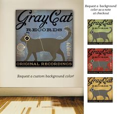 Grey gray CAT records original graphic illustration art on gallery wrapped canvas by stephen fowler by geministudio on Etsy https://www.etsy.com/listing/254530349/grey-gray-cat-records-original-graphic
