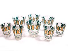 Vintage Mad Men Cocktail Glasses in Turquoise and by SproutVintage, $65.00