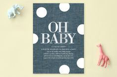 Oh Baby Dots Baby Shower Invitations by Baumbirdy at minted.com