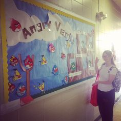 Angry Verbs Interactive Bulletin Board-the birds Velcro and can be moved to the tower to complete sentences