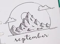 From MyLifeinaBullet. I love this cute little mountain doodle! - Nienke G - From MyLifeinaBullet. I love this cute little mountain doodle! From MyLifeinaBullet. I love this cute little mountain doodle! Bujo September, Mountain Sketch, Bujo Doodles, Bullet Journal 2019, Journal Covers, How To Get, Classroom Decor, My Love, Art Inspo