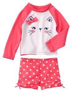 Bow Kitty Rash Guard Set at Gymboree Baby & Toddler Clothing, Toddler Fashion, Toddler Outfits, Kids Outfits, Taekook, Kids Bathing Suits, Swim Sets, Little Fashionista, Kids Swimwear