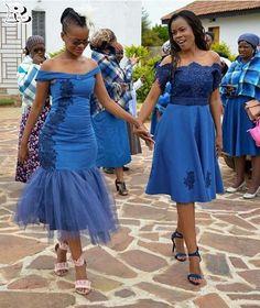 Traditional African Shweshwe Dresses Styles For Women. Shweshwe attires are a cotton indigo Fab South African Dresses, African Bridesmaid Dresses, African Wedding Dress, African Attire, African Fashion Dresses, African Wear, African Clothes, African Traditional Wedding Dress, African Fashion Traditional