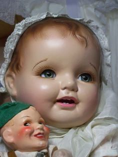 "27"" BRUNETTE BOOM BOOM McCUTIE-KINS COMPOSITION CLOTH BABY DOLL COMPO OLD CHERUB"