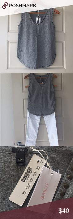 ✨🎉 HP 1/3/2017 🎉✨NWT JCREW Embellished Gray Top NWT JCREW Embellished Gray Top, Size XXS. Fun lightweight gray top with metal stud embellishment at collar and hem. BRAND NEW, never worn, with attached tags. J. Crew Tops