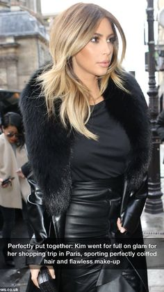 Kim Kardashian: New 'Keeping Up with the Kardashians' Tonight!: Photo Kim Kardashian struts her stuff as she pays a visit to the Tom Ford store on Monday (January in Paris, France. The reality star's show Keeping… Look Kim Kardashian, Kardashian Dresses, Kardashian Fashion, Gorgeous Hair, Beautiful, Gorgeous Blonde, Looks Street Style, Hair Dos, Cut And Color