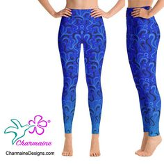 Blue Yoga Pants, Harem Pants, Pajama Pants, Spandex Material, Polyester Spandex, Printed Yoga Pants, Yoga Leggings, Shades Of Blue, Pants For Women