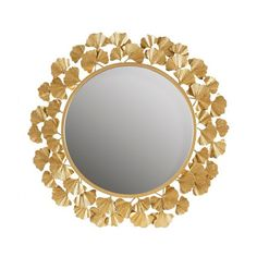 Gold Metal Leaves Frame Wall Mirror Metal Mirror, Mirror Set, Round Wall Mirror, Round Mirrors, Gold Metal Wall Art, Framed Mirrors, Gold Bed, Home Decor Mirrors, Entryway Decor