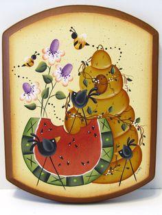 Watermelon Bee Hive Flowers Crow Handpainted Wood by ToleTreasures,