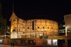 Here we are in orange. (We come in pink, purple, green and red too). Picture by Pete Le May. - I'd love to watch a performance at Shakespeare's Globe! London Travel, Shakespeare, Places To Go, Globe Theatre, England, Mansions, Night, House Styles, Pink Purple