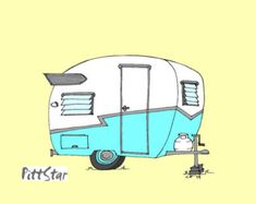 Instant Download Wall Art -  1960 Shasta Compact Travel Trailer - Blue
