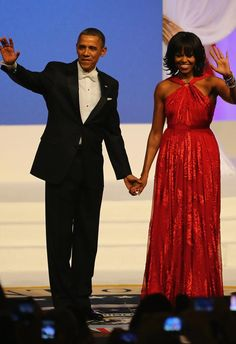 Our First Couple at the 57th Presidential Inaugural Ball!  First Lady Michele is stunning a red Jason Wu gown.