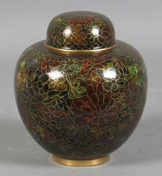 Chinese Cloisonne Ginger Jar in brown and reds.