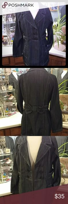 """Denim Coat This is a really cute coat!  In new condition, the material is like jeans but not stiff.  So many cute details to make it unique.  I love the bow in the back .  Measures about 28 """" in length and is a dark blue/ black color.  Bundle and save more! JW Jackets & Coats"""