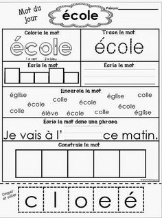 Mots fréquents - New Ideas French Teaching Resources, Primary Teaching, Teaching French, Teacher Resources, Teaching Ideas, French Worksheets, French Education, Core French, French Classroom