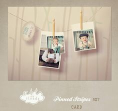Pinned Stripes card template C008 by ArtonClouds on Etsy, $8.00