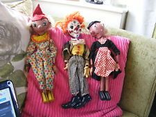 3 PELHAM PUPPETS Vintage WICKED WITCH ,BIMBO & CLOWN for Restoration