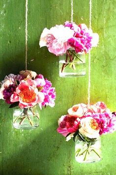 Jam jar rose vases