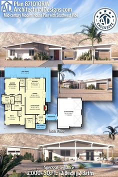 House Plan 871010RW gives you 2,000+ square feet of living space with 2 bedrooms and 2 baths. AD House Plan #871010RW #adhouseplans #architecturaldesigns #houseplans #homeplans #floorplans #homeplan #floorplan #houseplan Modern Floor Plans, Open Concept Floor Plans, Midcentury Modern House Plans, Dream House Plans, House Floor Plans, Dream Houses, French Doors Bedroom, Hall And Living Room, One Story Homes