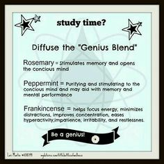 Diffusing blend during study time, using Young Living oils.