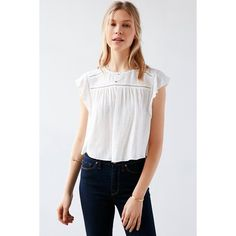 Kimchi Blue Eyelet Ruffle-Sleeve Blouse (70 CAD) ❤ liked on Polyvore featuring tops, blouses, white, white eyelet blouse, stripe blouse, eyelet blouse, keyhole blouse and white eyelet top