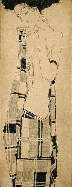 Герти Шиле в клетчатой одежде, с.  1909. Уголь и темпера