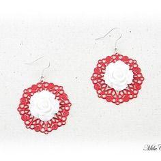 Boucles d'oreilles romantiques - boucles d'oreilles rouge et blanc fait main par milacréa
