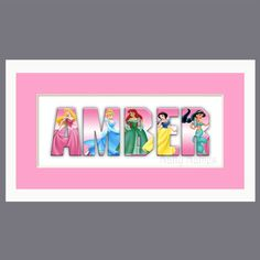 Disney Princess Custom Name Sign in Pink  Framed by nattynames, $24.00