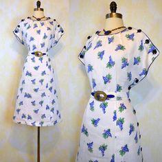 Vintage 30s Irish Linen Dress L  Novelty Grape by labellevintage