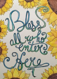 "ORIGINAL MIXED MEDIA ART PAINTING WATERCOLOR & INK ""Bless All who Enter Here"""