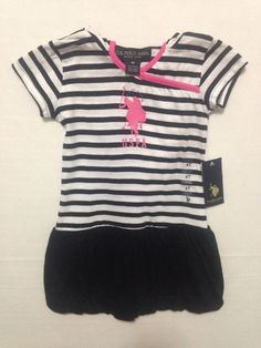 US Polo Assn Toddler Black White Striped Hooded Dress Size 4T #USPoloAssn #Everyday