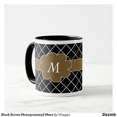 Black Brown Monogrammed Mens Mug Initial Coffee Mugs, Mug Printing, Photo Mugs, Black And Brown, Create Your Own, Initials, Tea Cups, Monogram, Ceramics