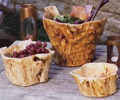Stumps and burls of fir trees that would go to waste have been converted into serving pieces and decorative bowls...
