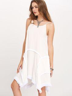 White Asymmetric Hem Raw Trim Shift Dress   MakeMeChic.COM