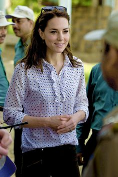 Catherine, Duchess of Cambridge meets rangers while on a Game drive with Prince William, Duke of Cambridge at Kaziranga National Park at Kaziranga National Park on April 13, 2016 in Guwahati, India.