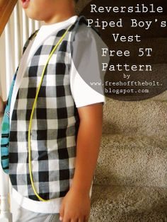 Fresh Off the Bolt: Reversible Piped Vest for Boys and Free Pattern!