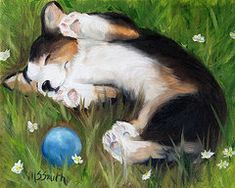 Pembroke Welsh Corgi Paintings - Bliss in the Grass by Hanging The Moon