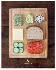 Stately Sandwiches on Anthology - looks like whole grain bread, cucumbers, tomatoes, sprouts, avocado, cheese (havarti would be good), and hummus or aioli. :-)