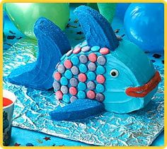 Macs fish birthday cake Two round cake pans shape second one like