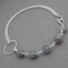 Labradorite and Sterling Silver Chain -- Asymmetrical Gemstone Bracelet by PlainJaneJewels on Etsy https://www.etsy.com/listing/236126695/labradorite-and-sterling-silver-chain