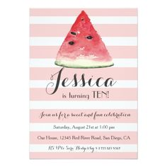 Sweet Watermelon Birthday Invitation for Girls