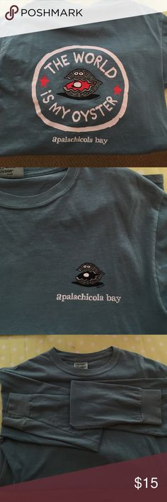 Comfort colors Tshirt! Size small long sleeve comfort colors tshirt! Apalachicola bay logo. Color is called sea. It's like a blue green mix. No holes or stains Comfort colors  Tops Tees - Long Sleeve