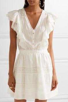 LoveShackFancy | Sylvie embroidered cotton-voile mini dress | NET-A-PORTER.COM