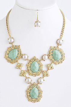 Mint Teardrop Faux Pearl Gold Filigree Statement Fashion Necklace Earrings Set | eBay