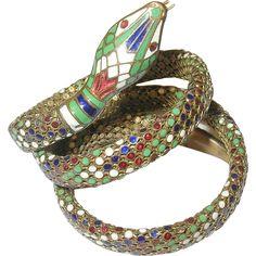 Vintage Enamel Coiled Snake Bracelet Snake Bracelet, Snake Jewelry, Jewlery, Jewelry Bracelets, Year Of The Snake, Fantasy Clothes, Bvlgari, Spiders, Snakes