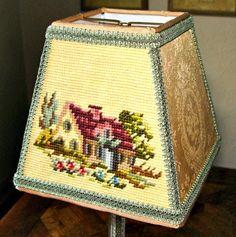 Cottage Chic  Needlepoint Lampshade